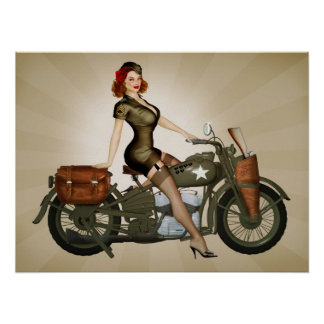 Sargento Davidson Army Motorcycle Pinup Póster