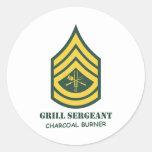 Sargento de la parrilla del ejército pegatinas redondas