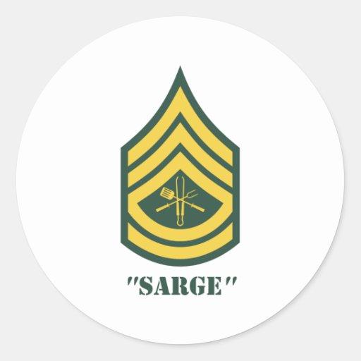Sargento de la parrilla del ejército etiqueta redonda