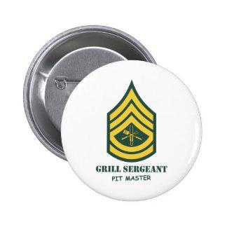 Sargento de la parrilla del ejército pin redondo 5 cm