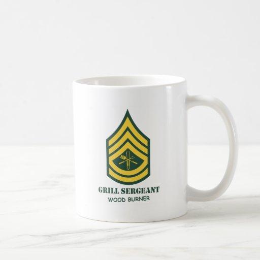 Sargento de la parrilla del ejército taza básica blanca