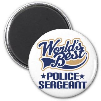 Sargento de policía regalo imán redondo 5 cm