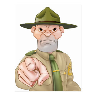 Sargento de taladro el señalar postales