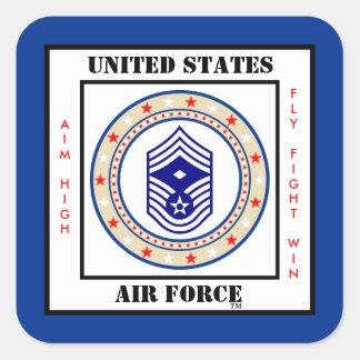 Sargento E-9 de la fuerza aérea Pegatina Cuadrada
