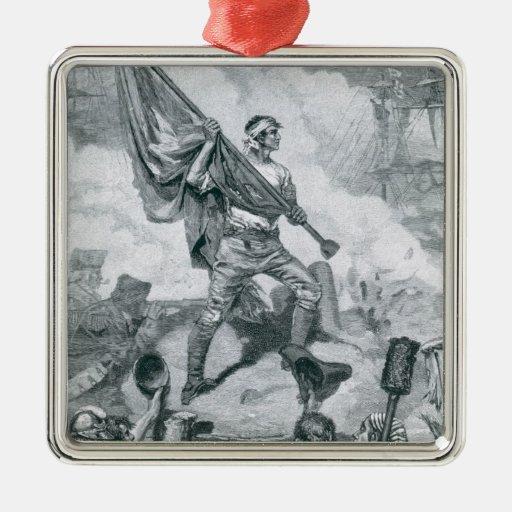 Sargento Jasper en la batalla del fuerte Moultrie Adorno Cuadrado Plateado