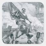 Sargento Jasper en la batalla del fuerte Moultrie Pegatina Cuadrada