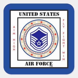 Sargento mayor MSgt E-7 de la fuerza aérea Pegatina Cuadrada