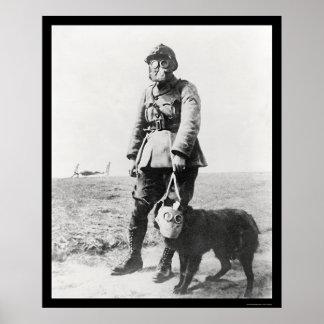 Sargento y sus caretas antigás del perro que lleva impresiones