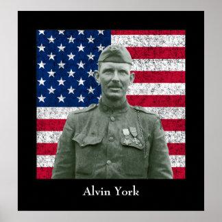 Sargento York y la bandera americana Posters