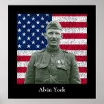 Sargento York y la bandera americana Póster