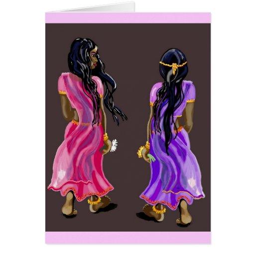 Sari sisters greeting card