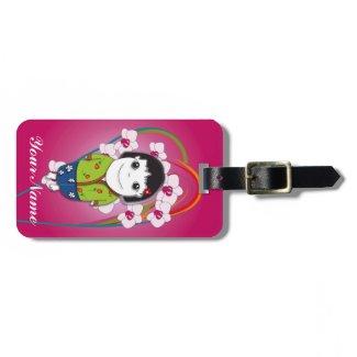 Sarong Girl Retro Luggage Tag - Fully Customisable