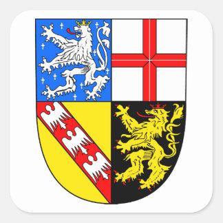 Sarre escudo de armas pegatina cuadrada