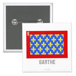 Sarthe flag with name pinback buttons