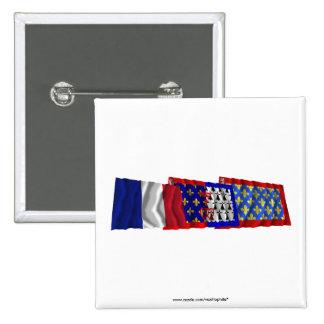 Sarthe, Pays-de-la-Loire & France flags Pinback Buttons