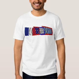 Sarthe, Pays-de-la-Loire & France flags T-shirt