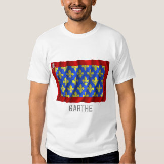 Sarthe waving flag with name t-shirts