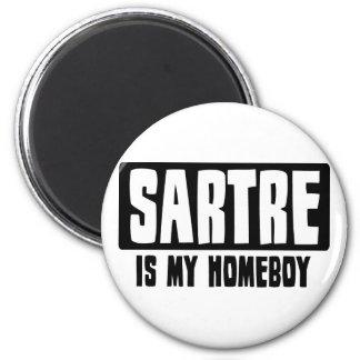 Sartre es mi Homeboy Imán Redondo 5 Cm