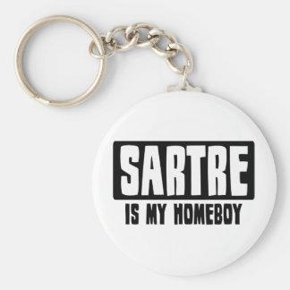 Sartre es mi Homeboy Llavero Redondo Tipo Pin