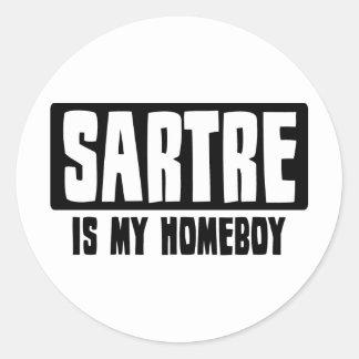 Sartre es mi Homeboy Pegatina Redonda