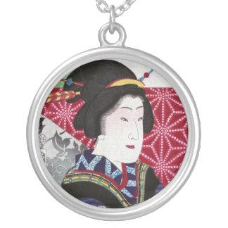 Saruwaka-cho Kogiku, Toyohara Kunichika Round Pendant Necklace