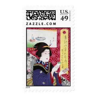 Saruwaka-cho Kogiku Toyohara Kunichika Postage