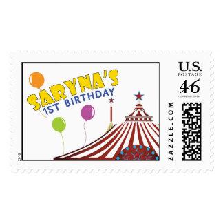 Saryna s First Birthday circus Postage Stamp