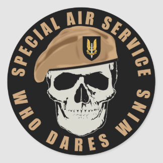 SAS Skull Classic Round Sticker
