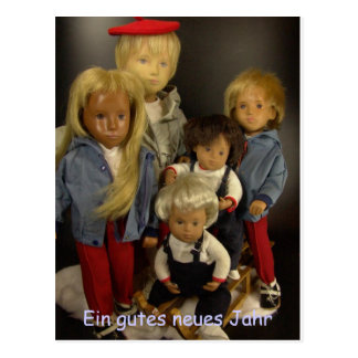 Sasha dolls in the snow postcard