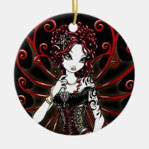 sasha, couture, gothic, red, fairy, faery, faerie, fae, tattoo, fantasy, art, myka, jelina, big, eyed, mika, faeries, Ornament with custom graphic design