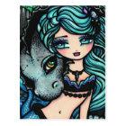 Sasha & Jett Mermaid Fantasy Dragon Art Postcard