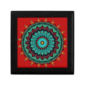 Sasha Mandala Aqua Red Keepsake Boxes