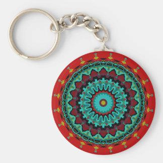 Sasha Mandala Aqua Red Key Chain
