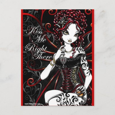 Sasha Red Corset Tattoo Fairy Postcard by mykajelina
