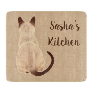 Sasha Siamese Cat Lover Kitty Looking Away Drawing Cutting Board