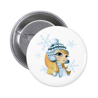Sasha the Snow Bunny! 2 Inch Round Button