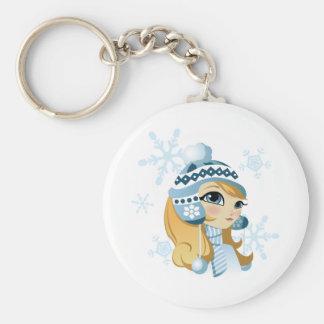 Sasha the Snow Bunny! Basic Round Button Keychain