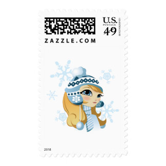 Sasha the Snow Bunny! Postage Stamp