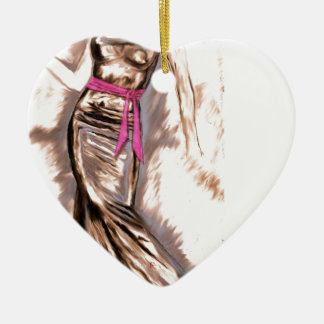 """""""Sashed"""" Double-Sided Heart Ceramic Christmas Ornament"""
