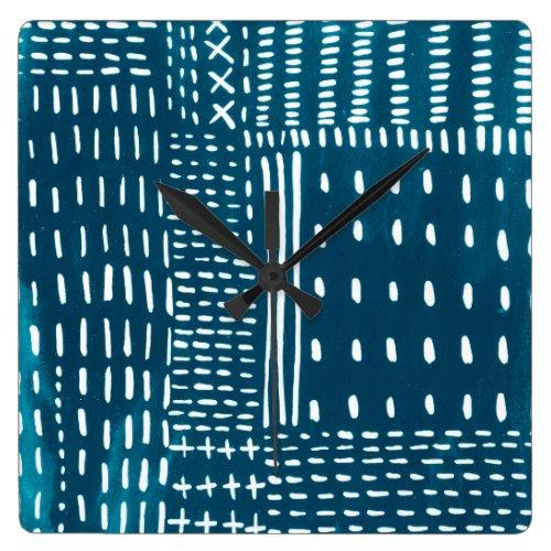 Sashiko Stitches Square Wall Clock - Japanese Wall art