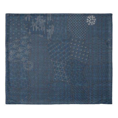 Sashiko-style embroidery Design - Duvet Cover