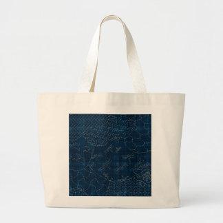 Sashiko-style embroidery imitation tote bags