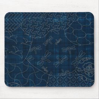 Sashiko-style embroidery imitation mouse pad