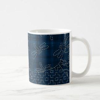 Sashiko-style embroidery imitation mug