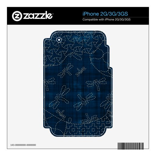 Sashiko-style embroidery imitation skins for iPhone 3GS
