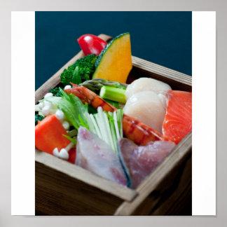Sashimi en Japón, cocina japonesa Póster