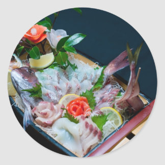 Sashimi in Japan, Japanese Cuisine Classic Round Sticker