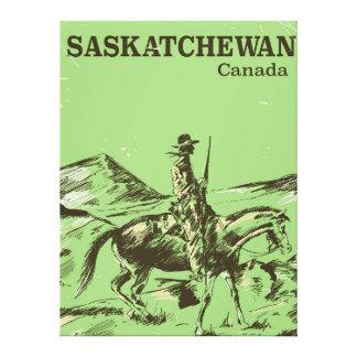 Saskatchewan Canada vintage travel poster Canvas Print