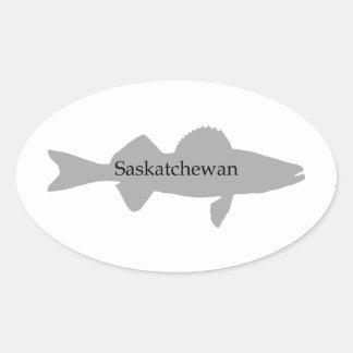 Saskatchewan Canada Walleye Oval Sticker
