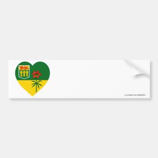 Saskatchewan Flag Heart Bumper Sticker